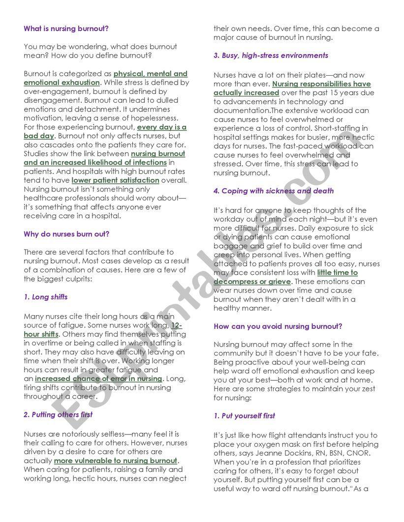 Nursing burnout worksheet