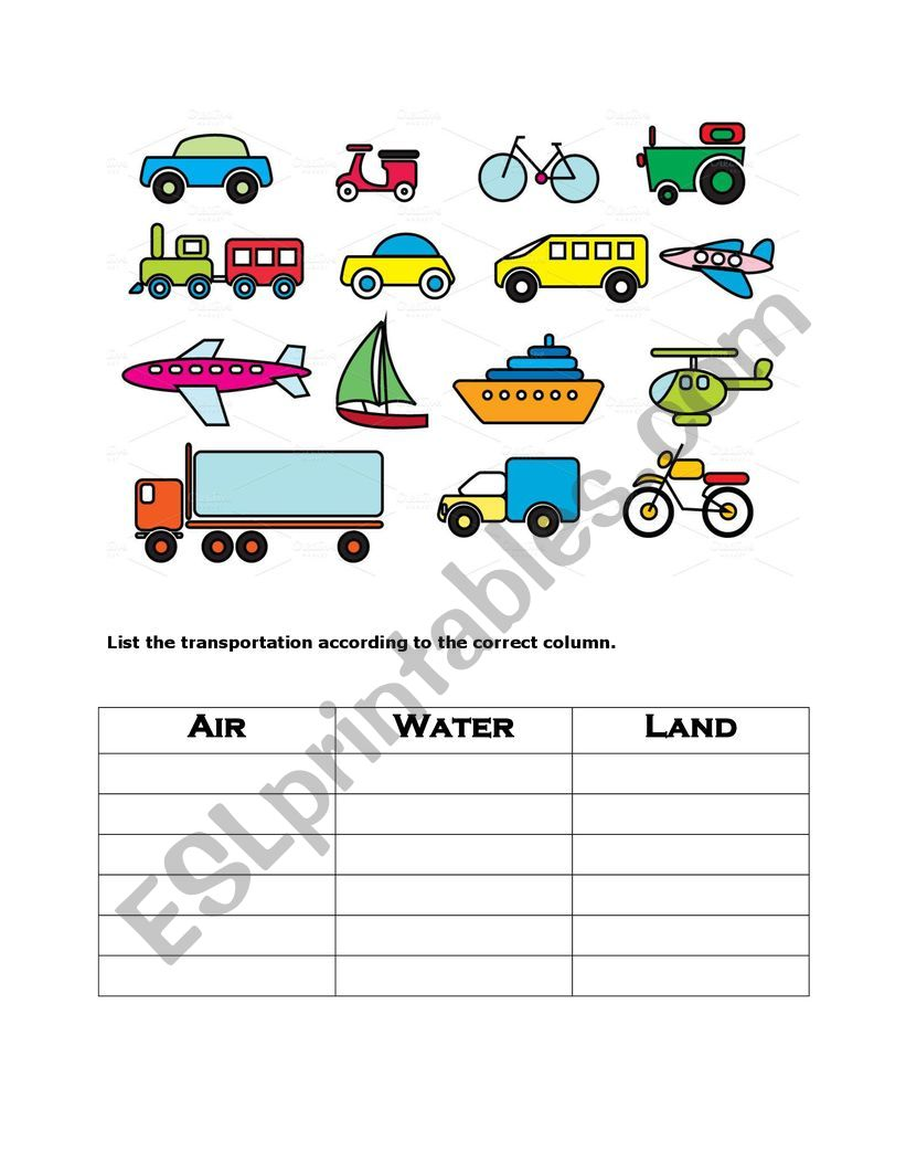 List transportation worksheet
