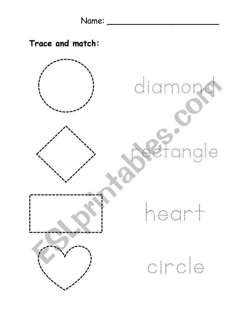 Trace and match shapes worksheet