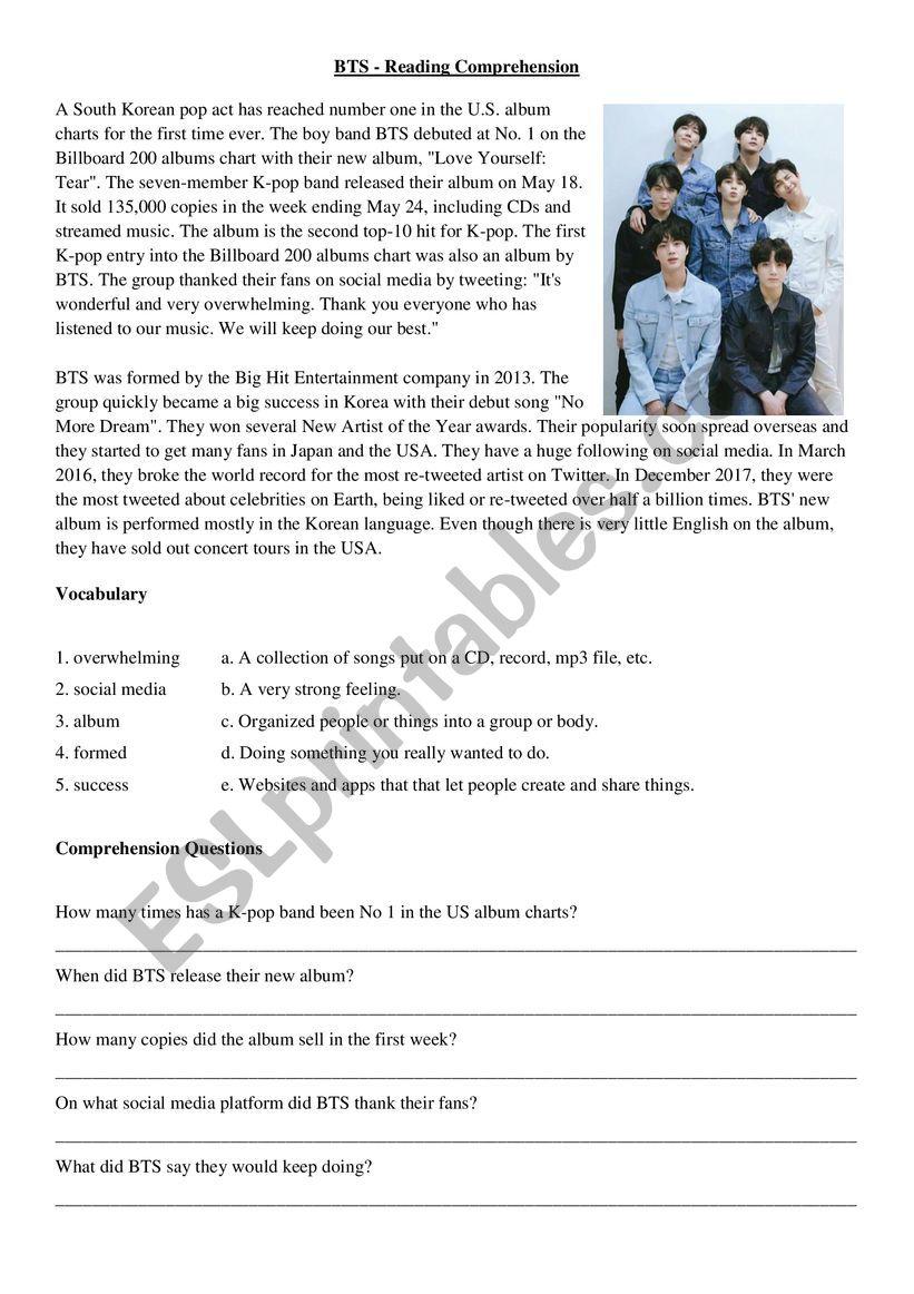 BTS - K-Pop Reading Comprehension - ESL worksheet by Mr Fife