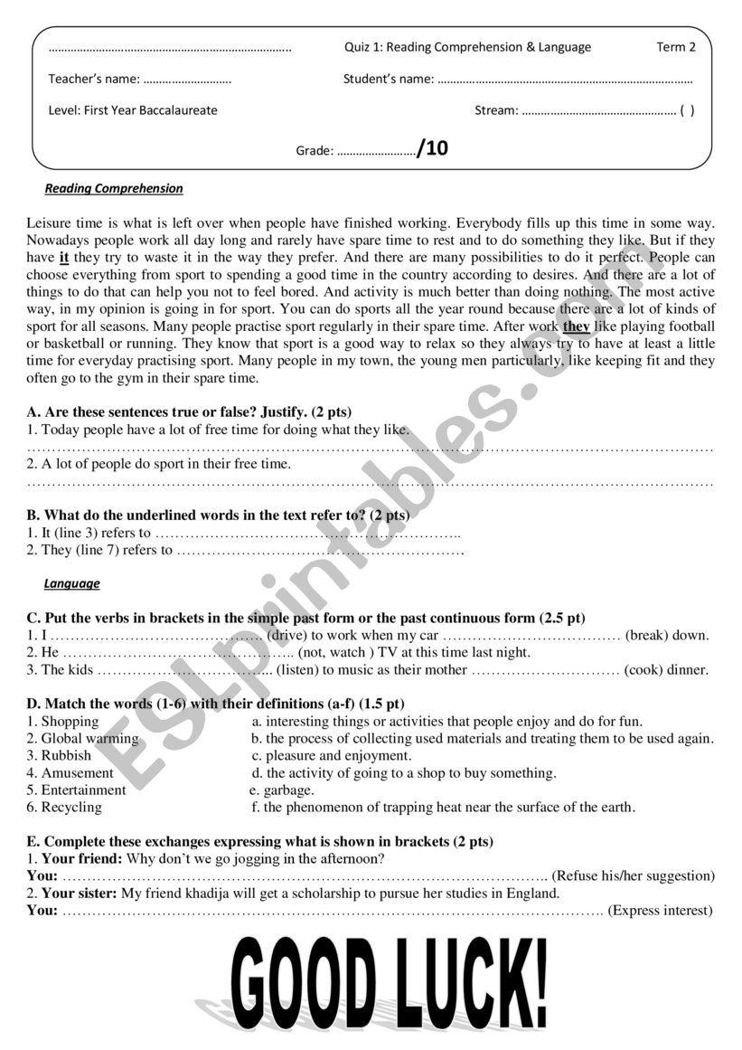 - Quiz 1 (version B): Reading Comprehension & Language. - ESL