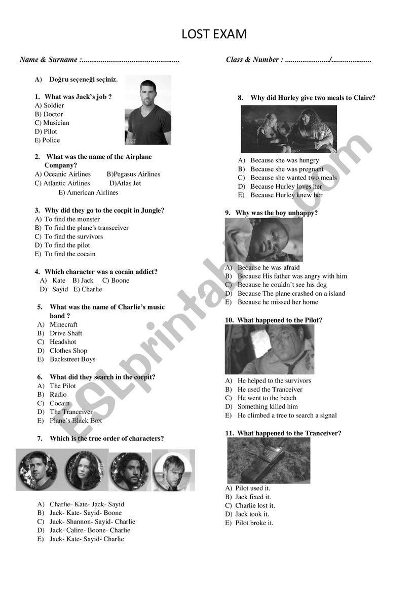 Lost Season 1 Episode 1(The Pilot) Quiz - ESL worksheet by