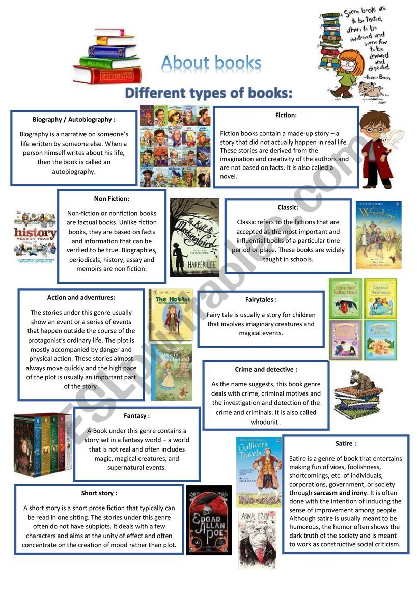 About books worksheet