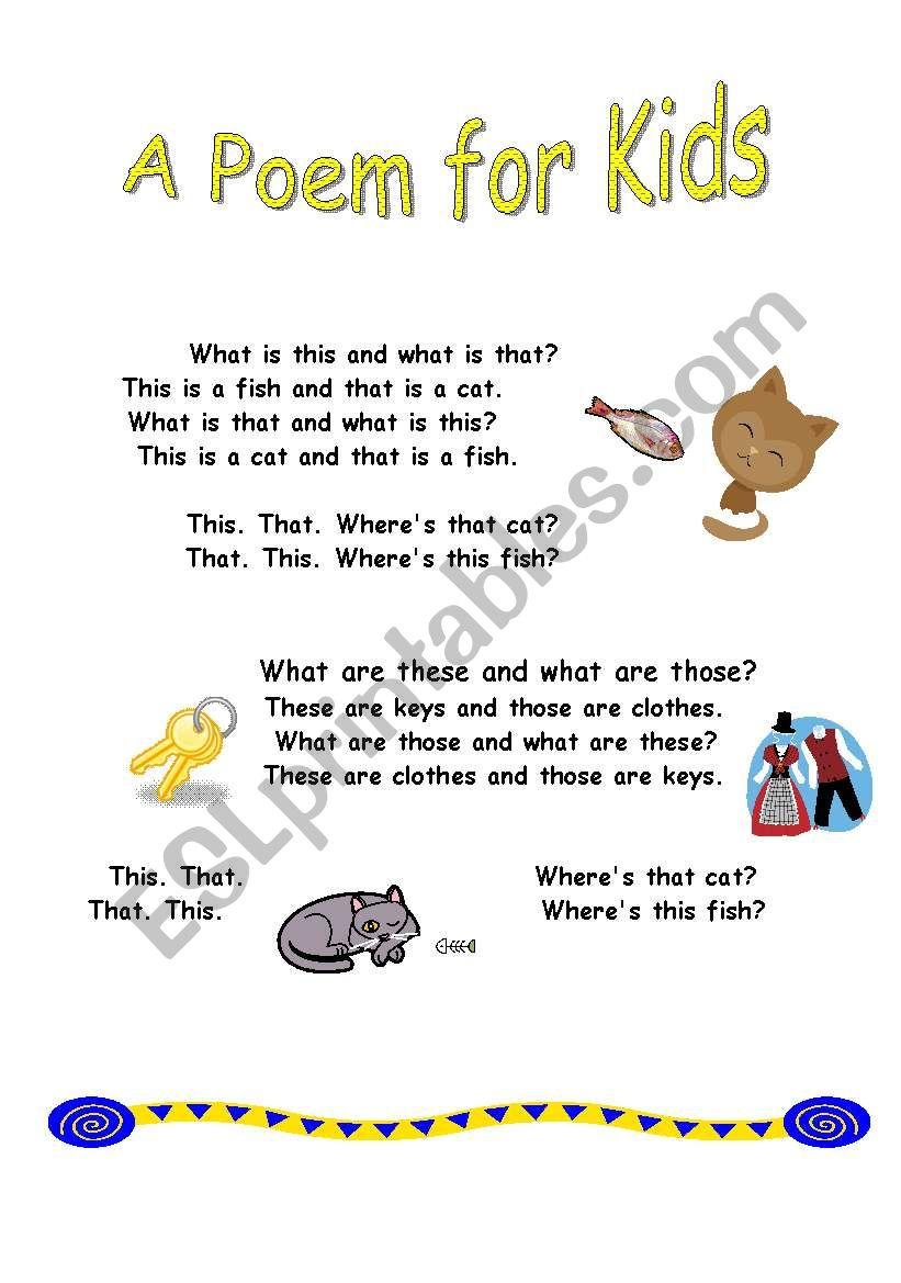 Poem for kids - ESL worksheet by sindelll