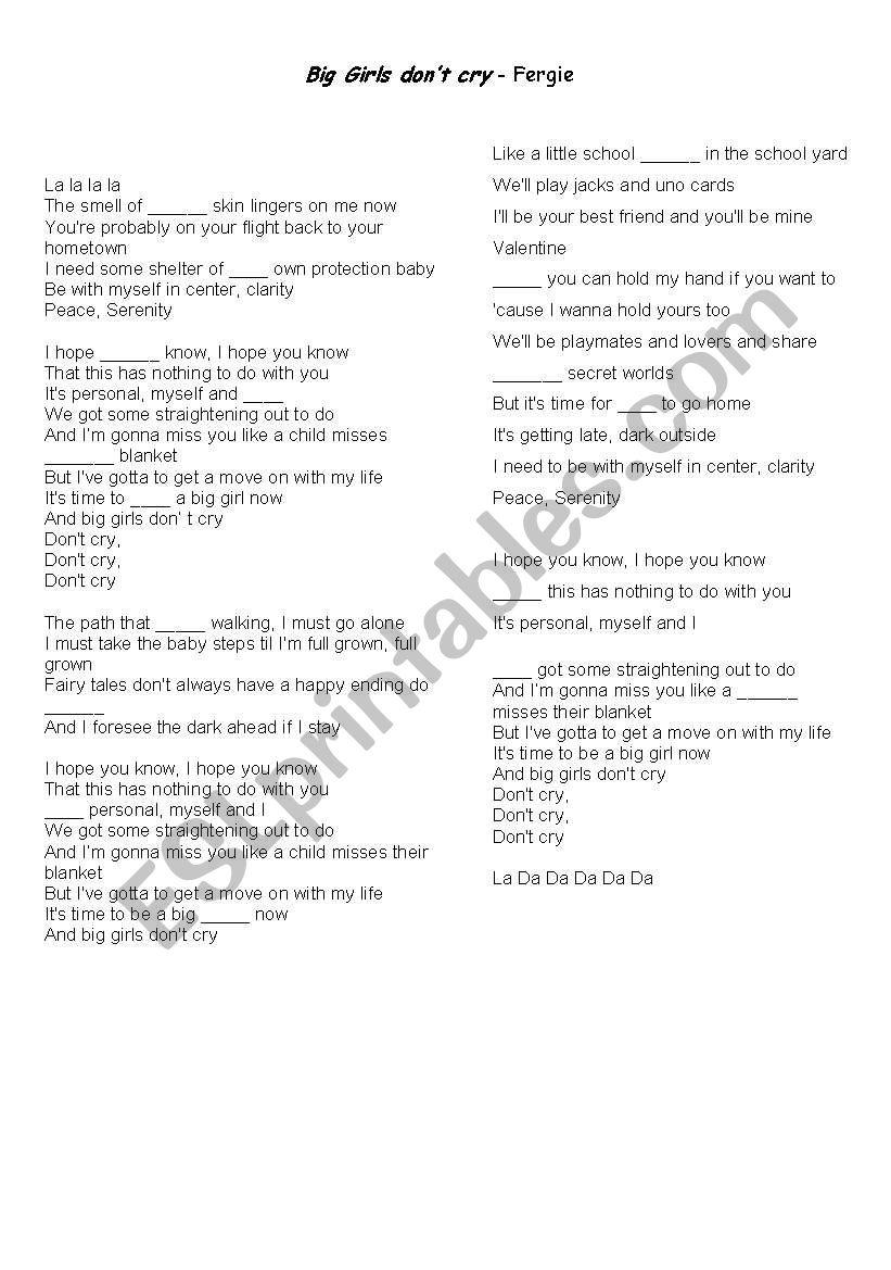 Big Girls Don´t Cry worksheet