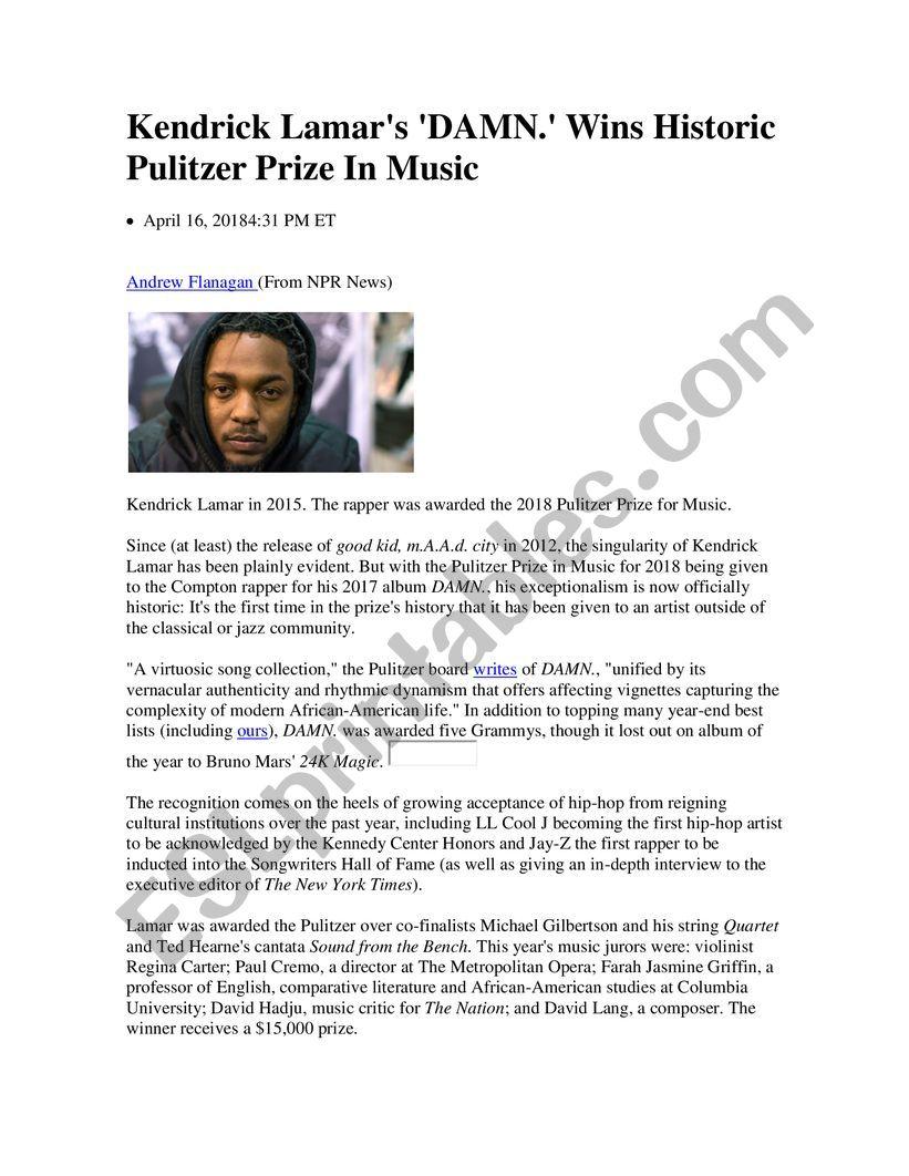 Kendrick Lamar wins Pulitzer worksheet