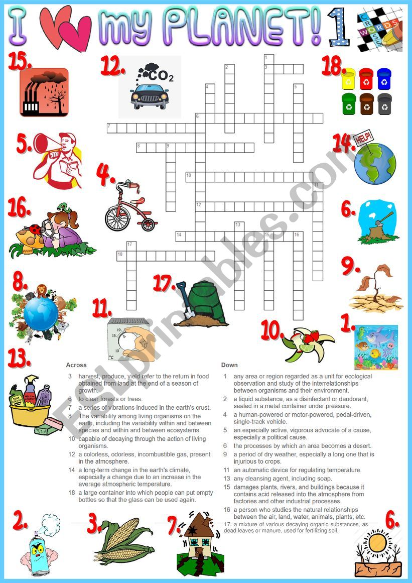 I love my planet 1 crossword - environmental vocabulary + KEY