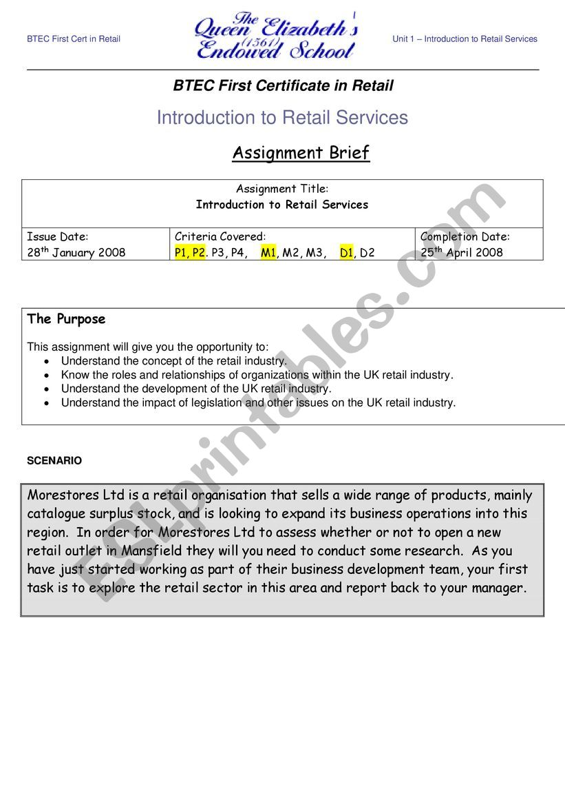 assignment on retailing - ESL worksheet by laetitiapuch@yahoo fr