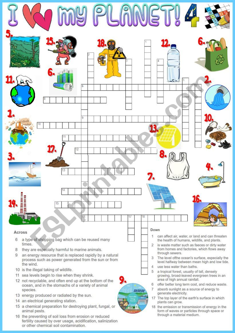 I love my planet 4 Crossword - Environmental vocabulary + KEY