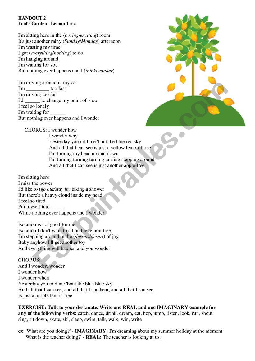 Lemon Tree - Fool´s Garden - ESL worksheet by LadyPumpkin