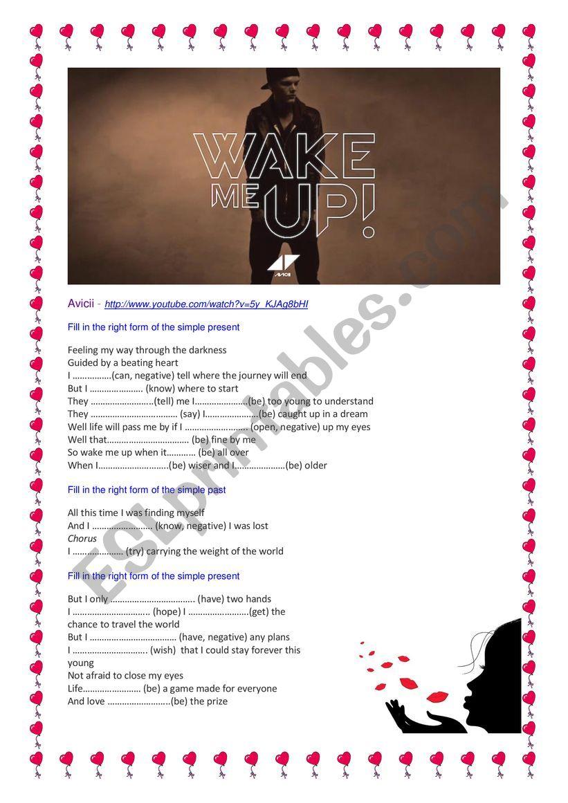 Avicci Wake me up worksheet
