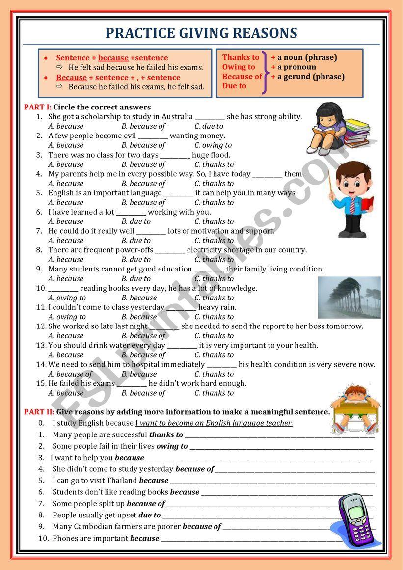 Giving reasons (beause) worksheet