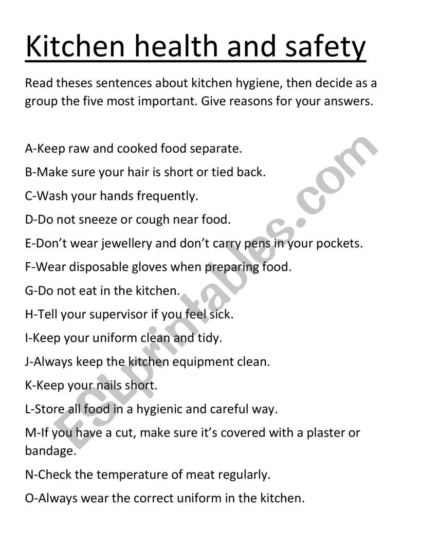 Kitchen Hygiene And Safety Rules Esl Worksheet By Mrbeen1