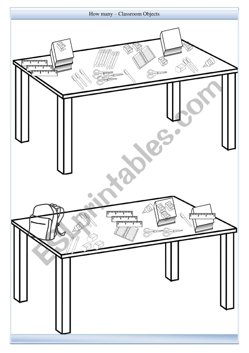 How many - Classroom Objects - Numbers worksheet