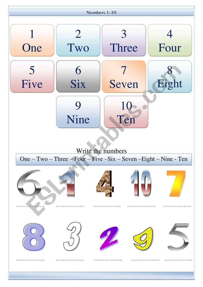 Numbers 1-10 worksheet worksheet