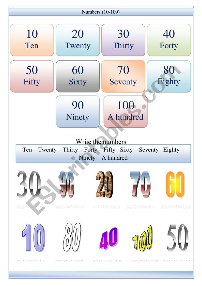 Numbers 10 -100 worksheet worksheet