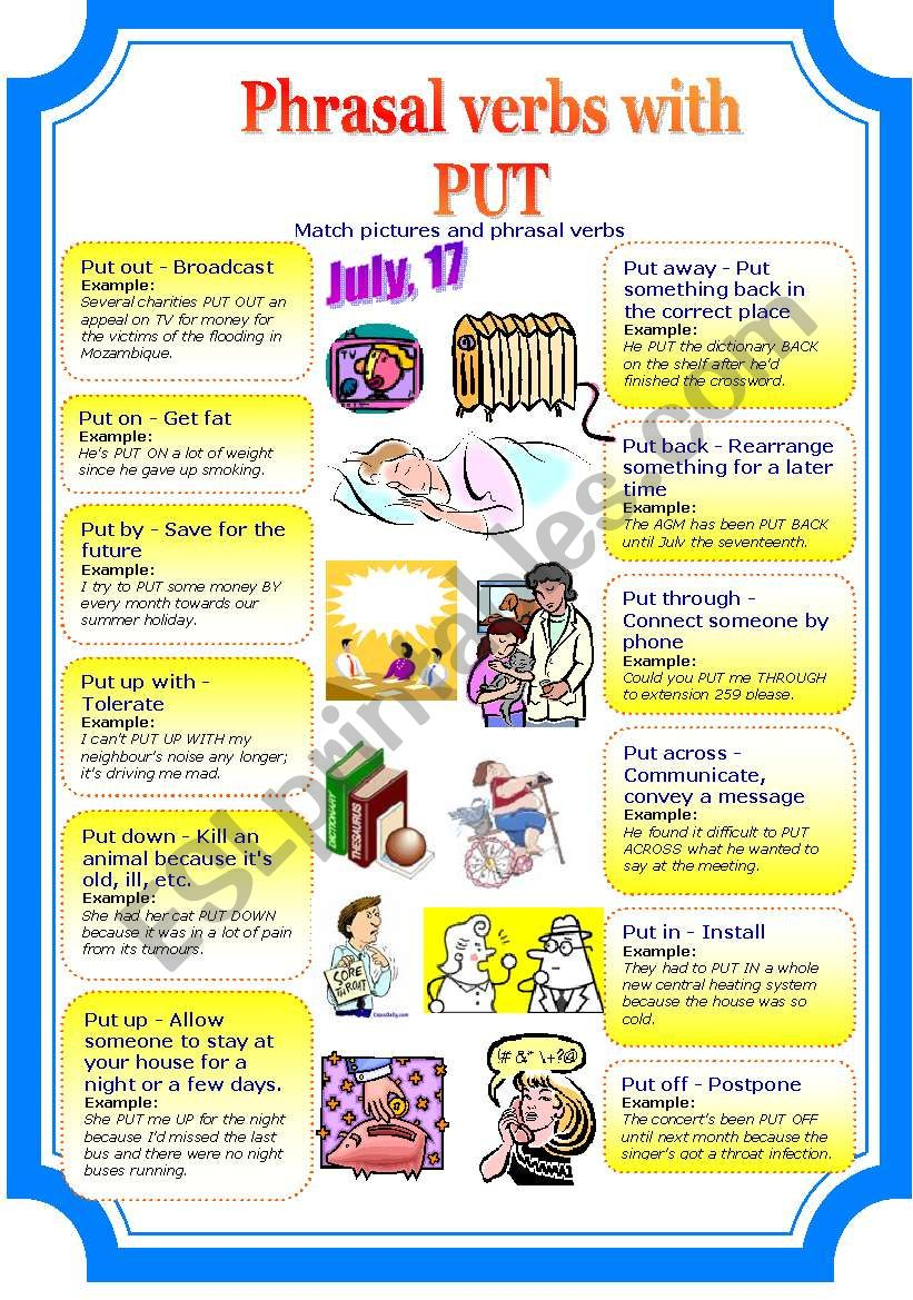 Phrasal verbs with PUT (2 pages)