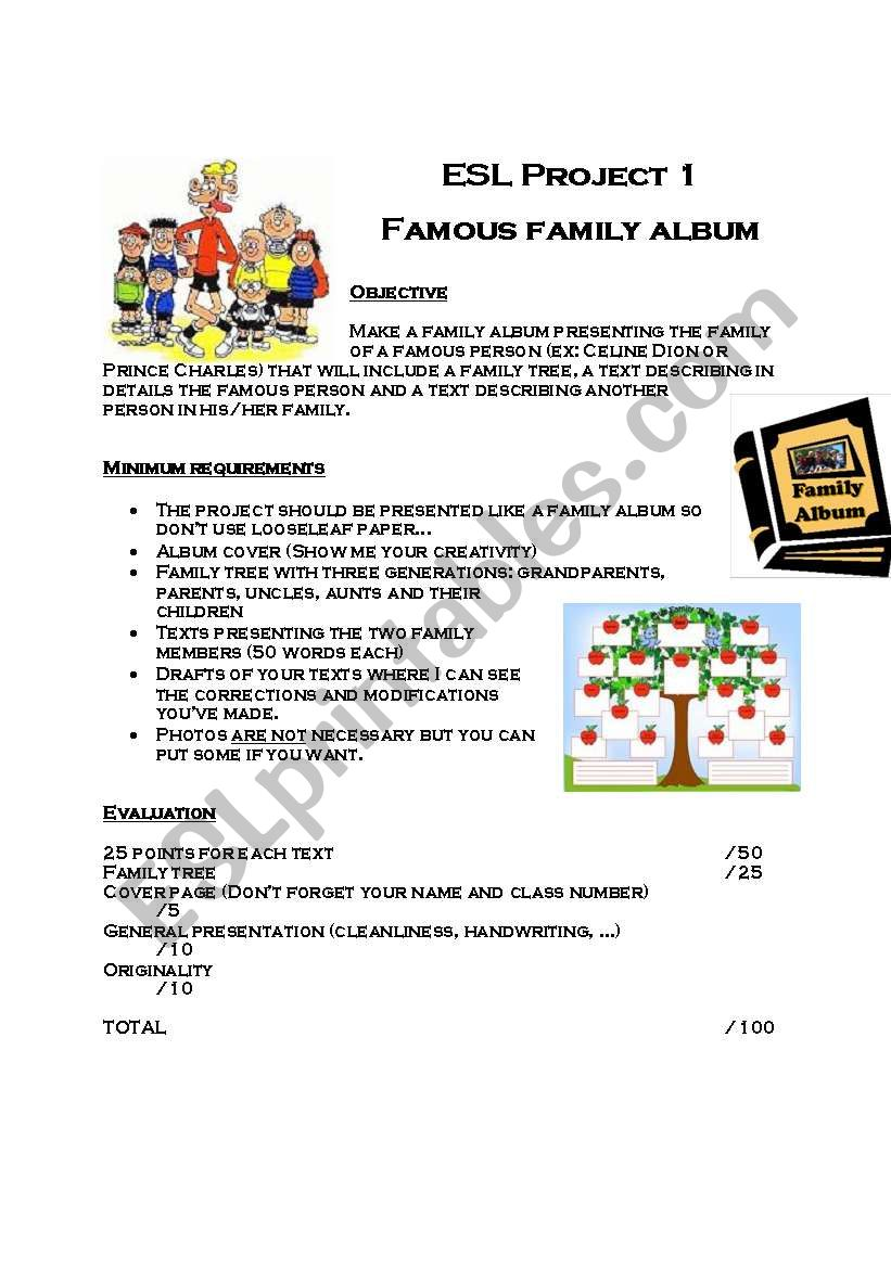 Famous family album worksheet