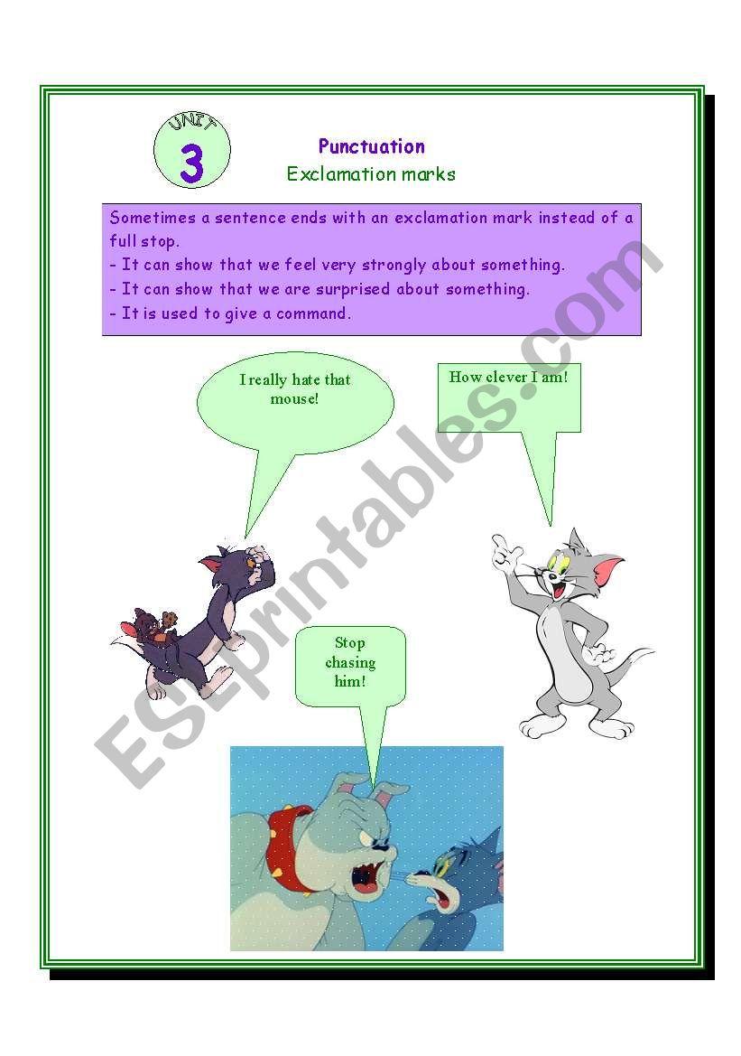 Punctuation (unit 3) : exclamation mark