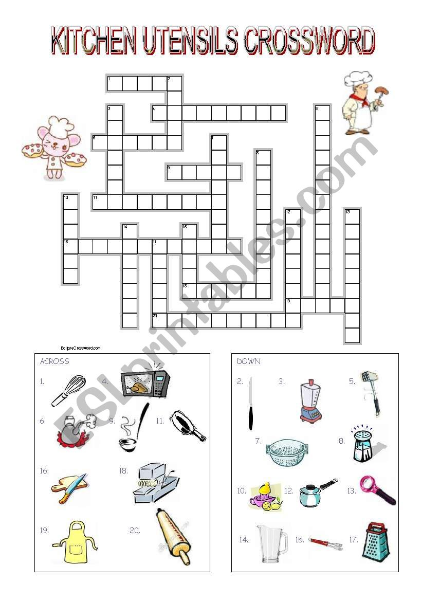 Kitchen Utensils Crossword - ESL worksheet by mimika