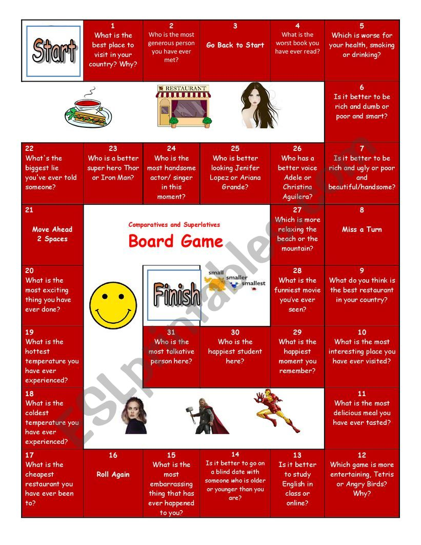 Comparatives and Superlatives Board Game