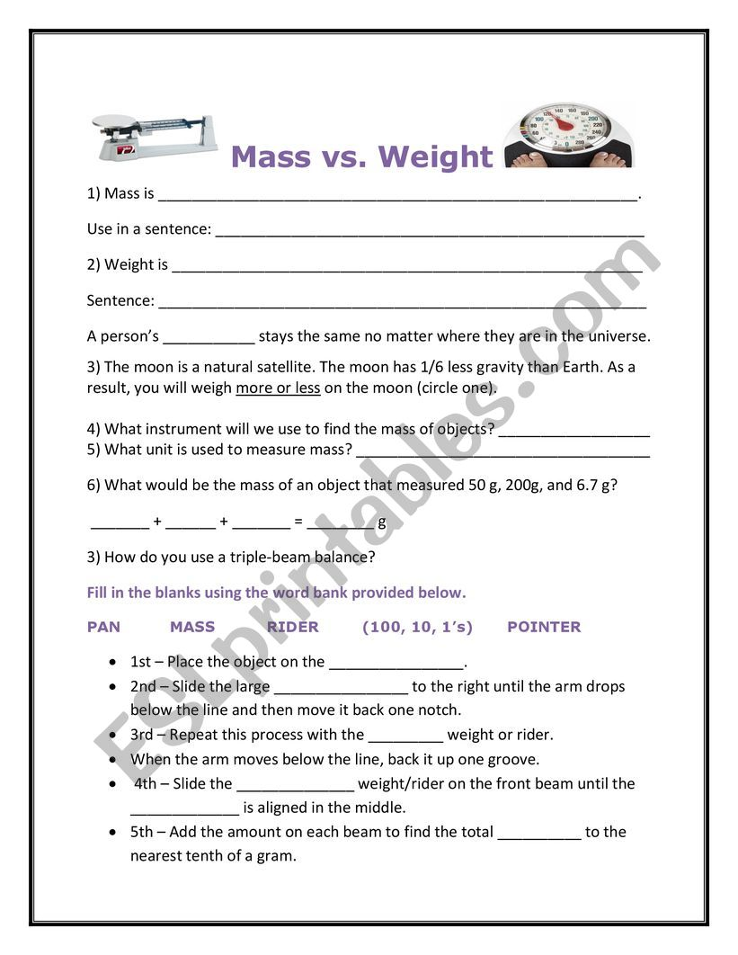 photo about Triple Beam Balance Worksheet Printable titled M towards Body weight How in the direction of Hire a Triple Beam Equilibrium - ESL