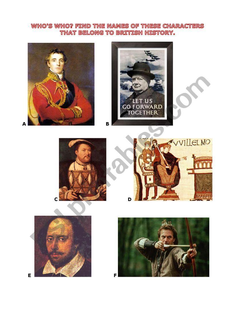 British history - chronology worksheet