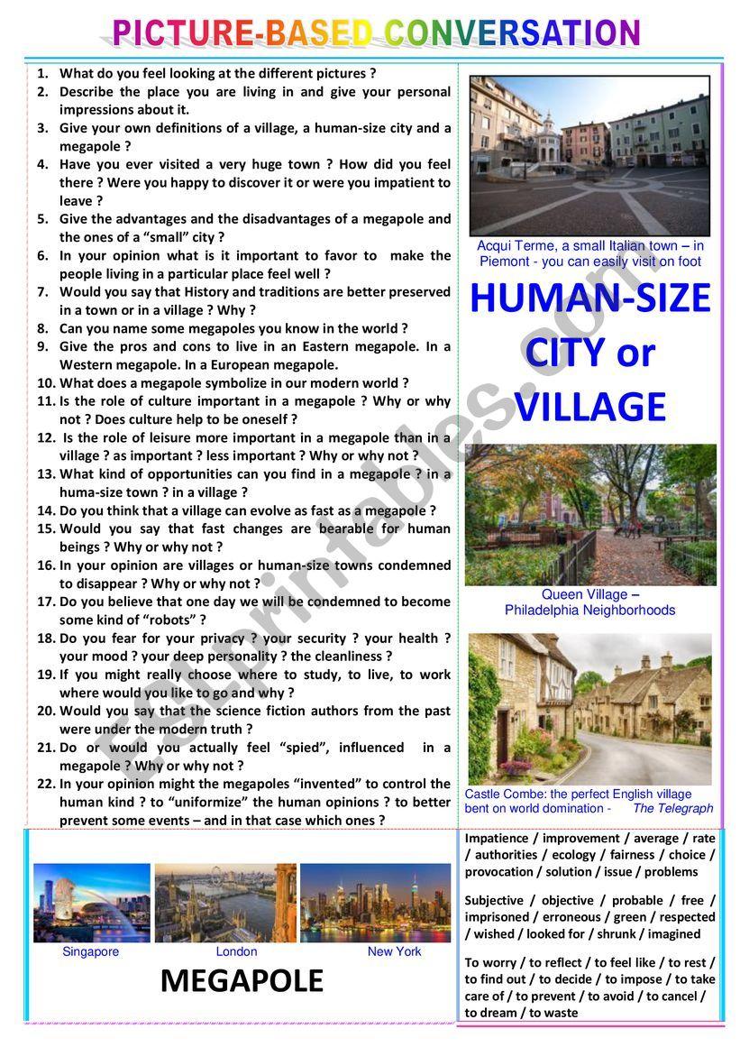 Picture-based conversation - topic 116 : village & human-size town vs megapole.