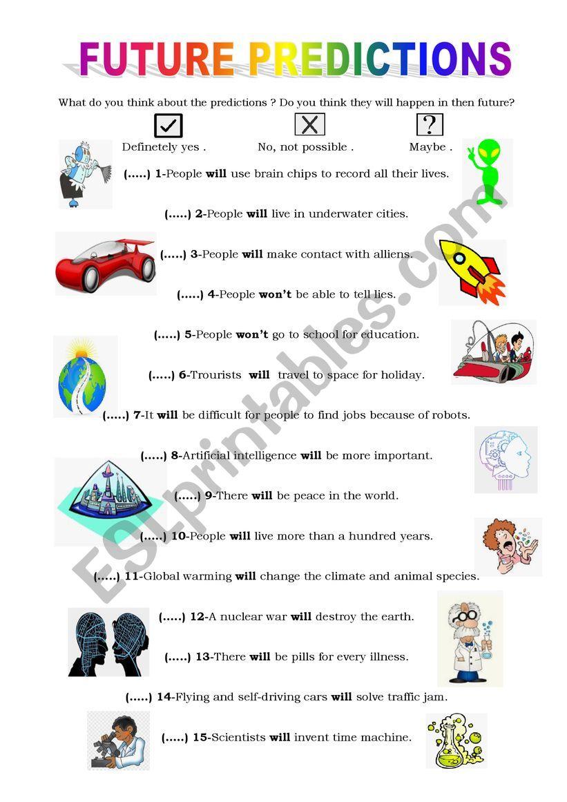 future predictions worksheet