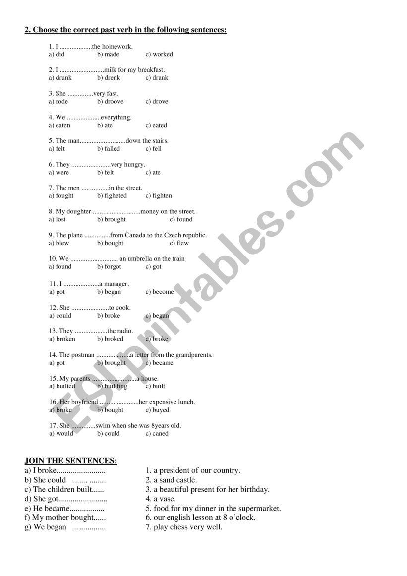 Irregular verbs - Multiple choice sentences