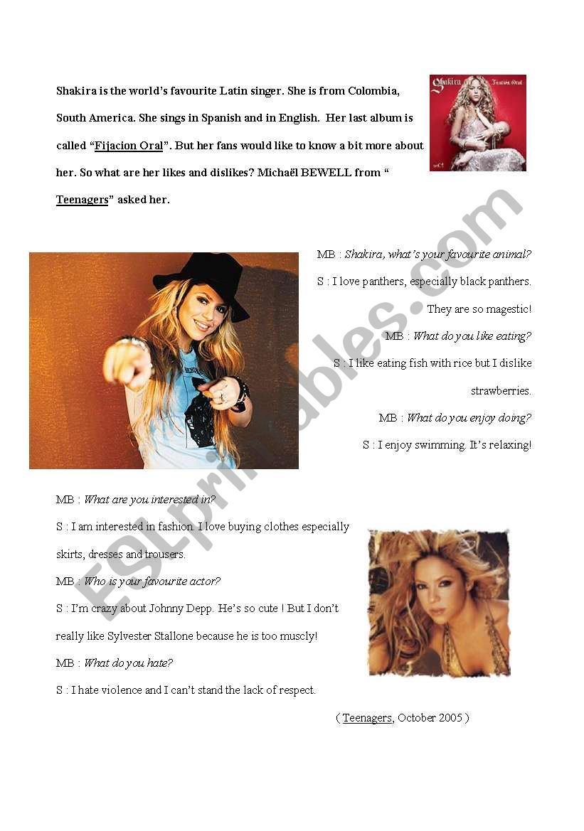 an interview about what Shakira likes and dislikes