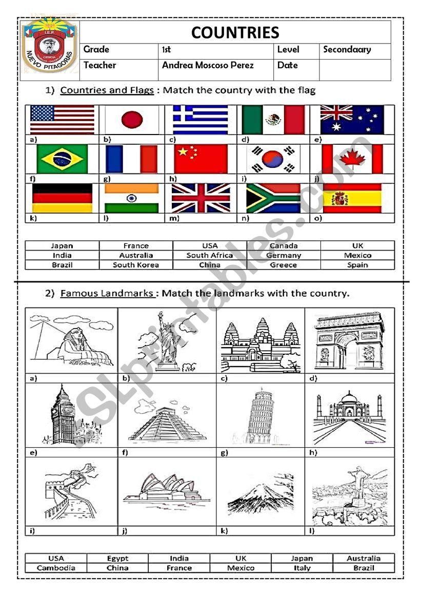 COUNTRIES worksheet