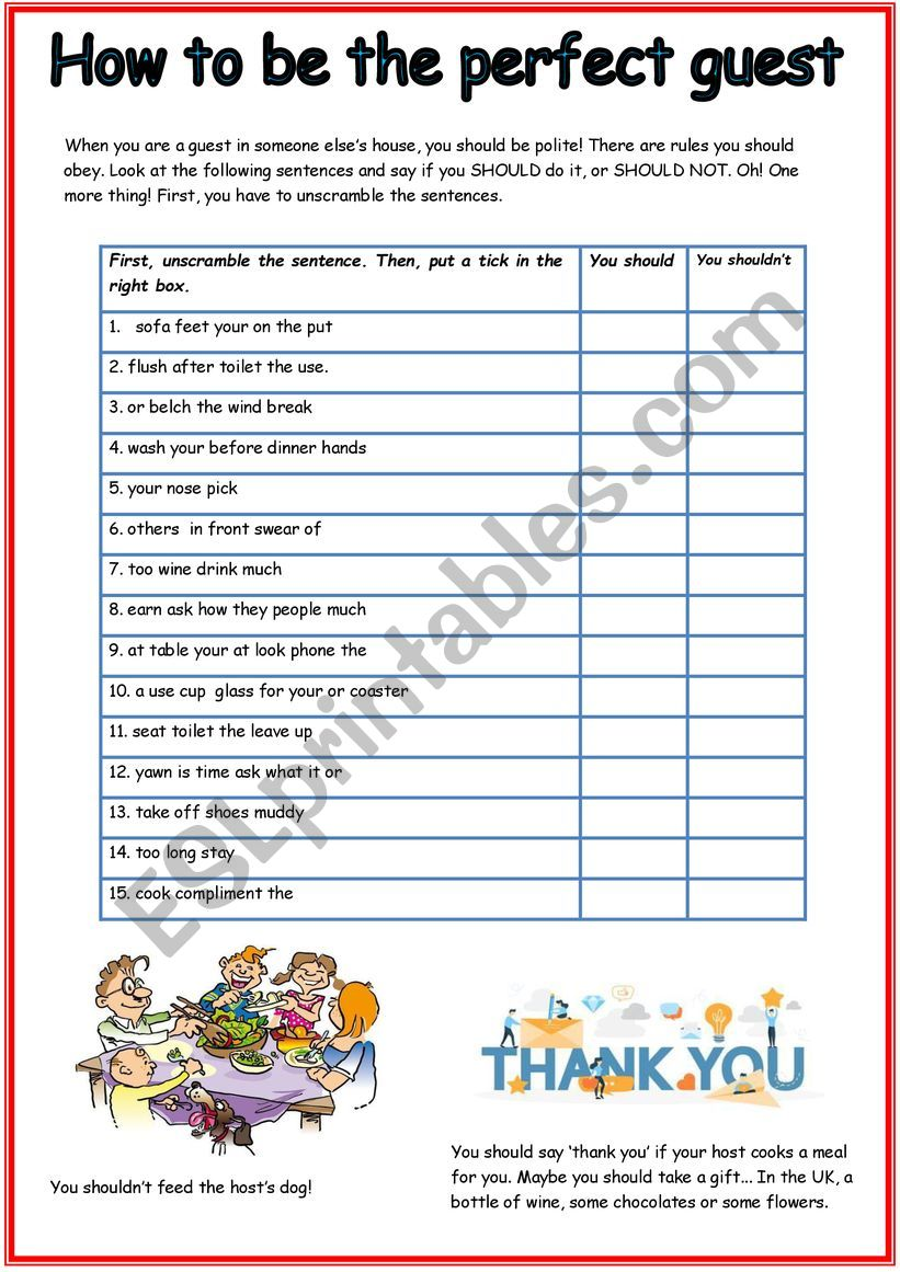 How to be the perfect guest worksheet