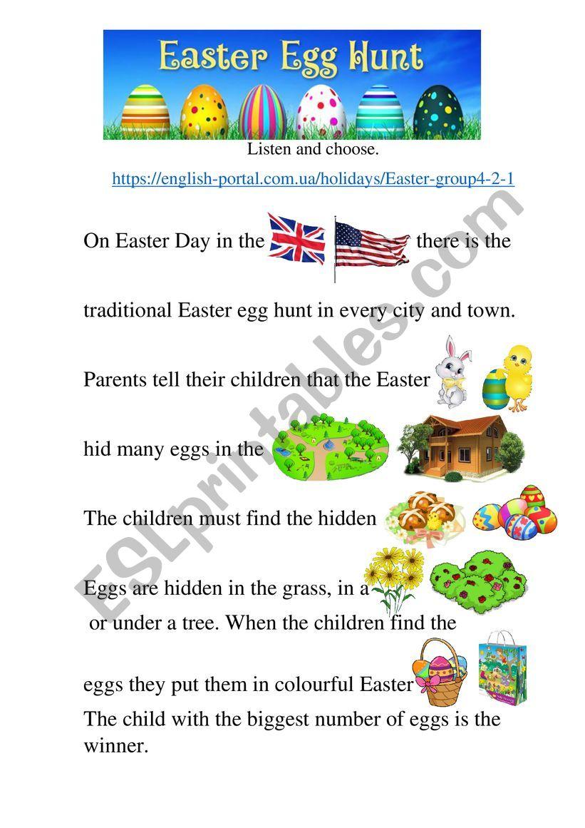 Easter egg hunt. listening worksheet