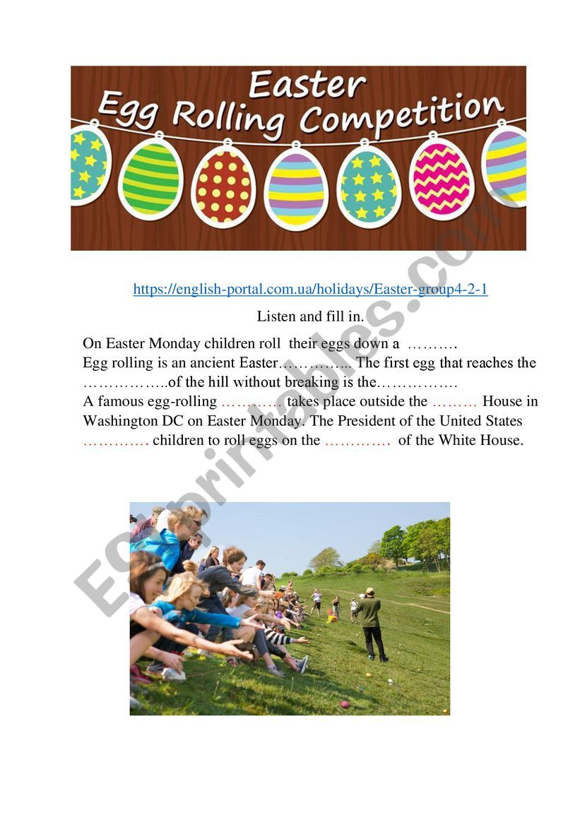 Easter Egg rolling competition. listening