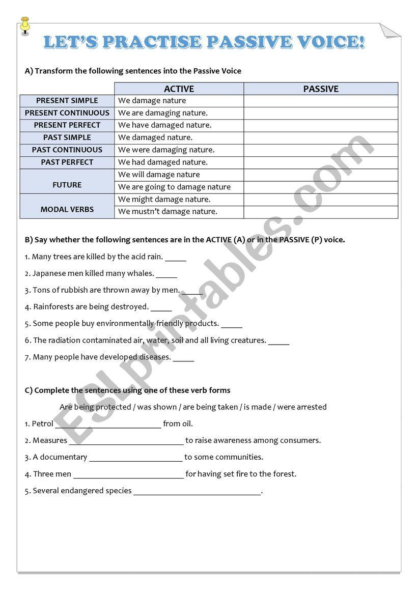 Let´s practise Passive Voice! worksheet
