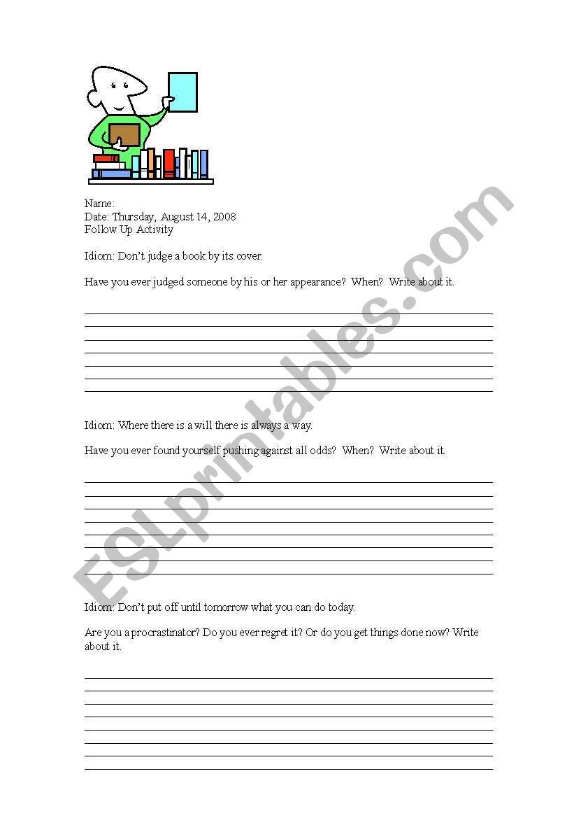 Idioms Follow Up Activity worksheet