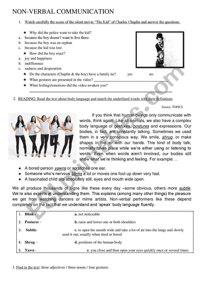 Non verbal communication - ESL worksheet by hugocrespo2015