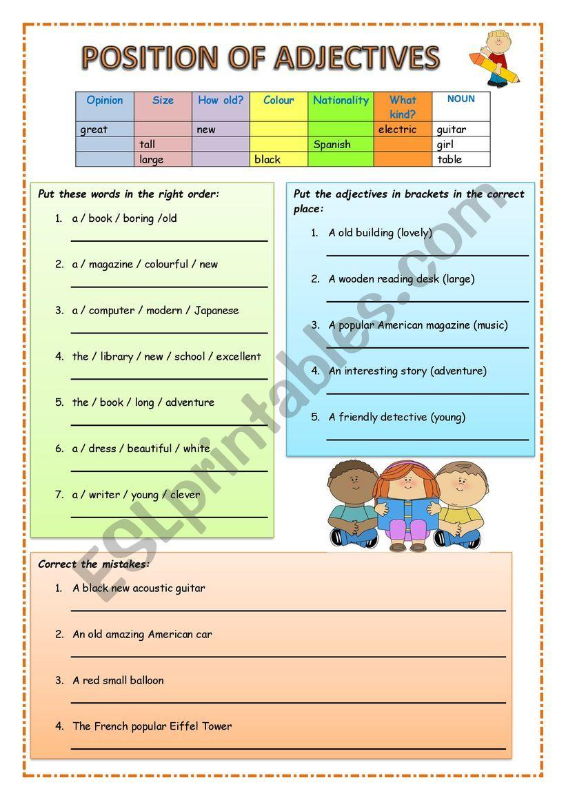 Position of adjectives worksheet