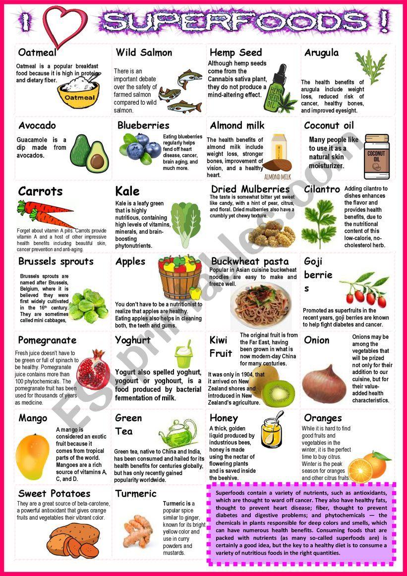 SUPER FOODS with sentences 2 worksheet
