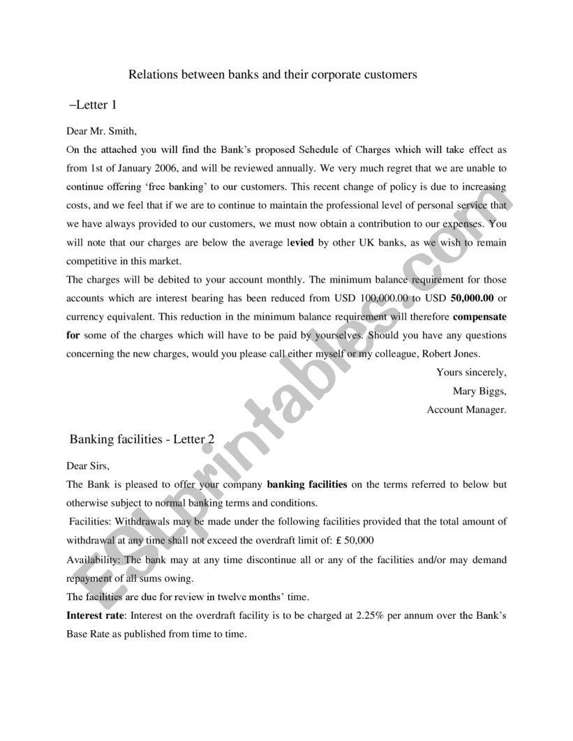 banks- business englsih worksheet