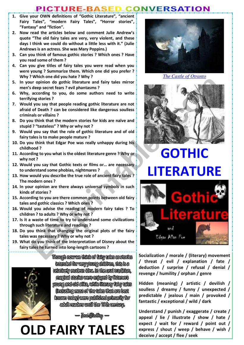 Picture-based conversation - topic 117 : gothic literature vs old fairy tales.
