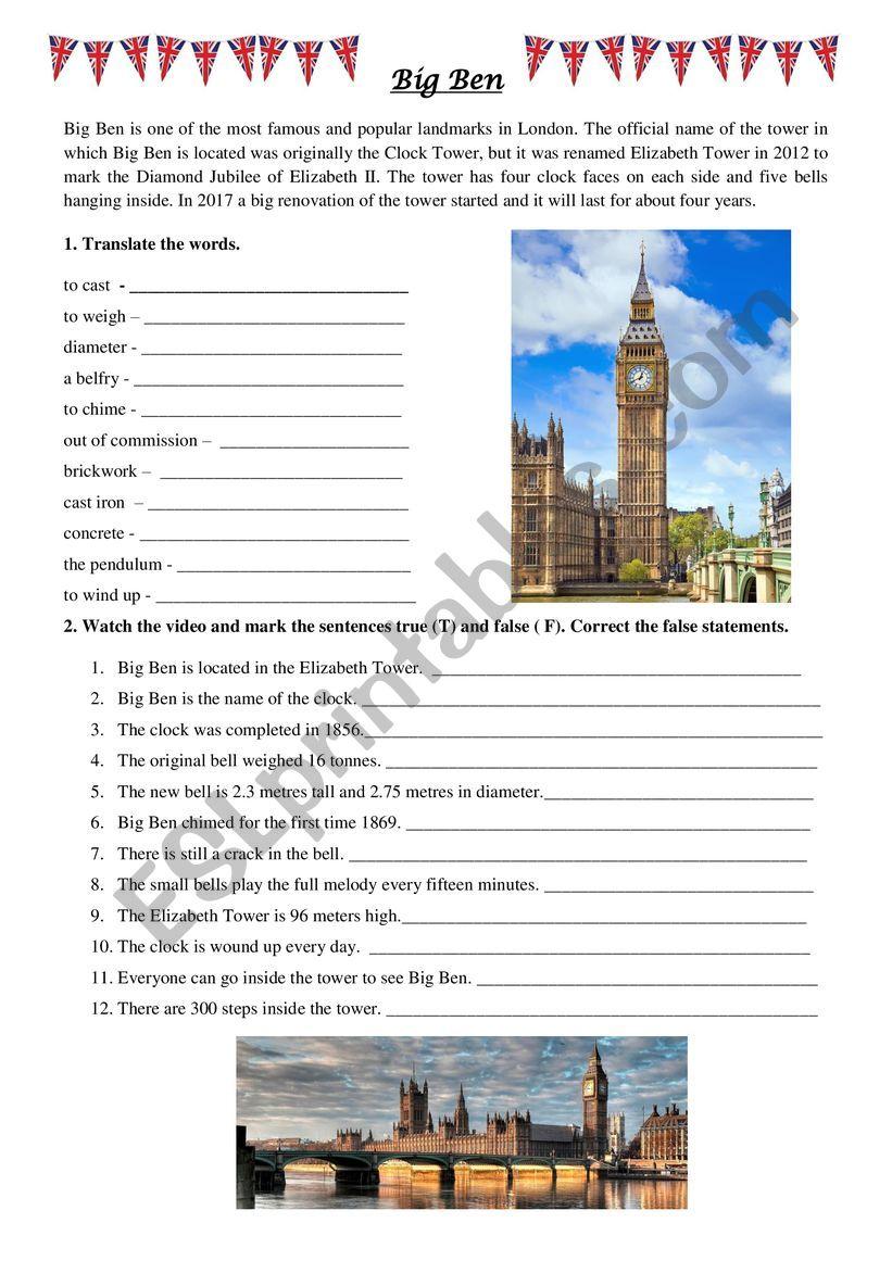 Big Ben video worksheet worksheet