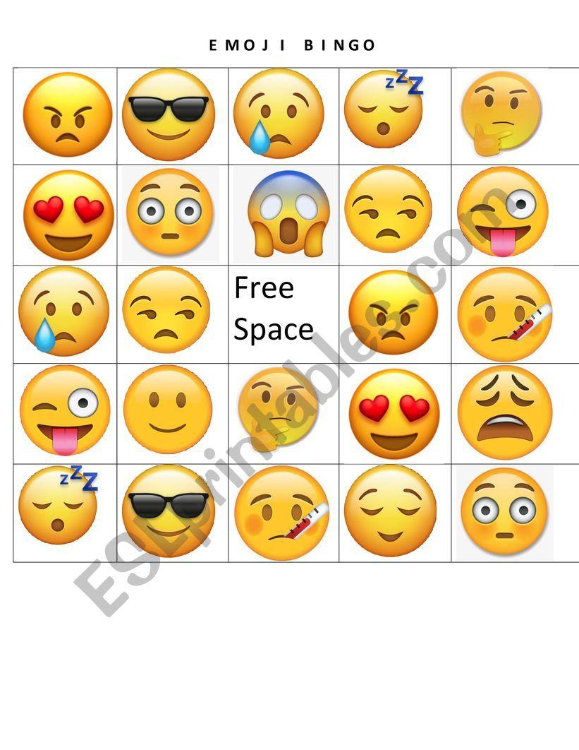 Emoji Bingo Card Esl Worksheet By Mawusidzo