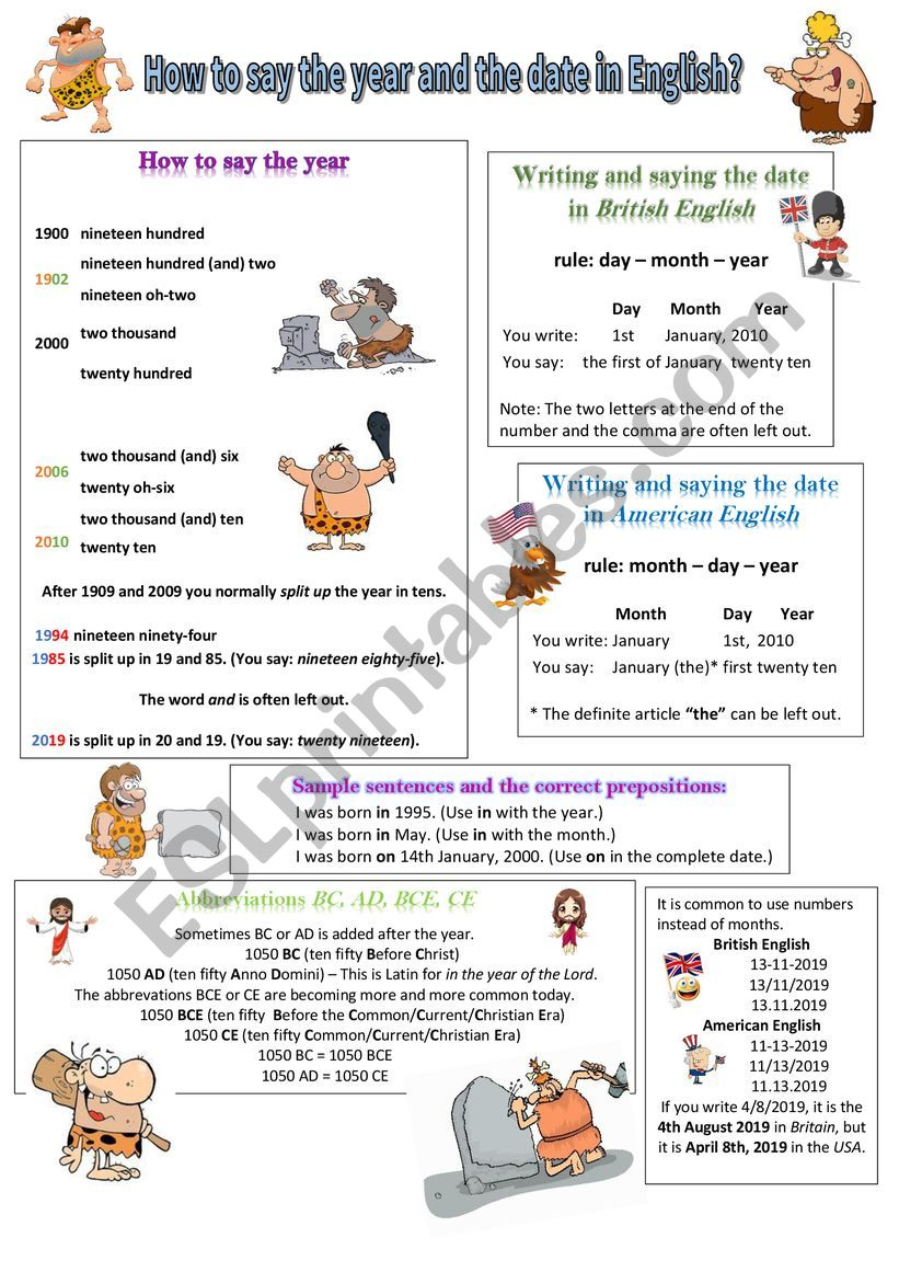 How to say the year and the date in English