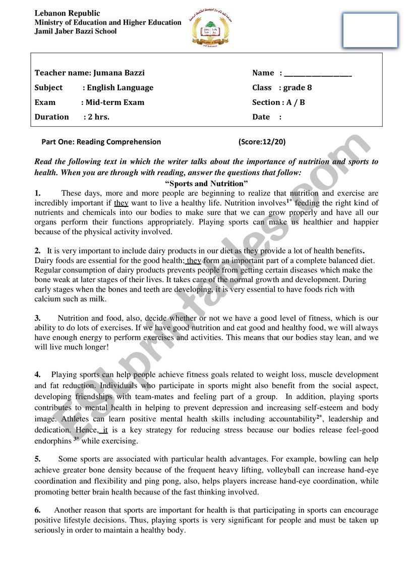 - Mid-Term Exam (grade 8) 2019 - ESL Worksheet By God Bless