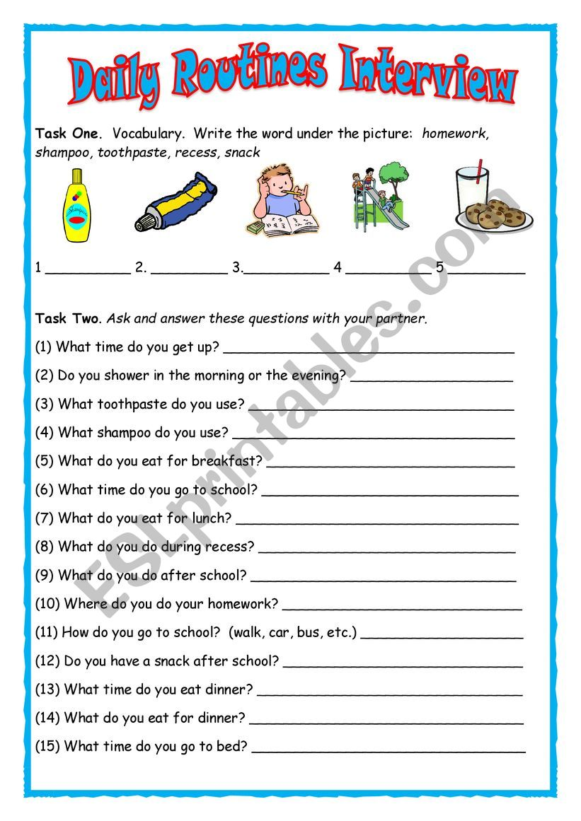 Daily Routines Interview worksheet