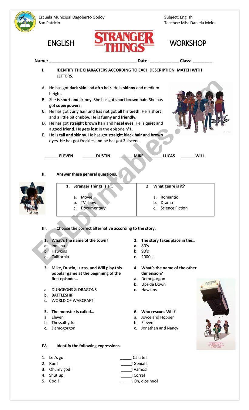 Stranger Things Worksheet - ESL worksheet by danielalejandra