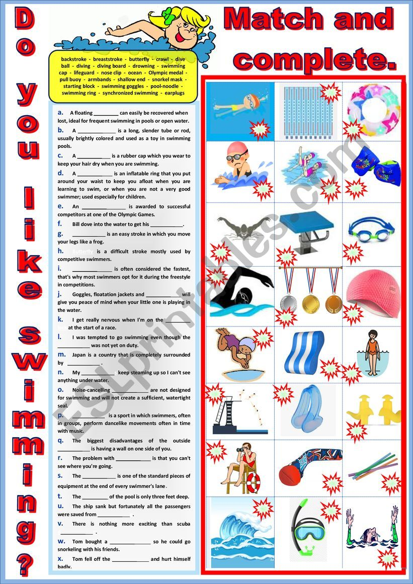 Do you like swimming 2 - Vocabulary in sentences + Key