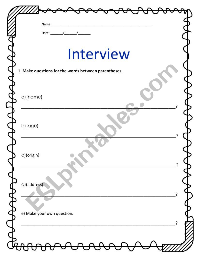 INTERVIEW A FRIEND_QUESTIONS worksheet